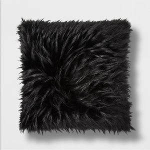 Black Faux Fur Throw Pillow - Project 62
